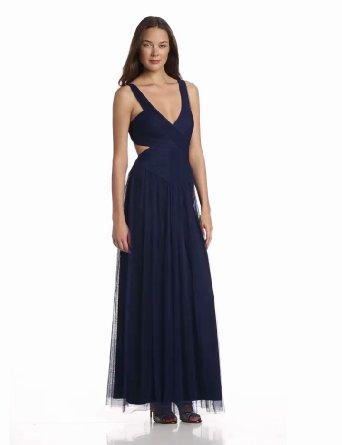 Amazon.com: BCBGMAXAZRIA Women's Mara V-Neck Evening Dress with Open Back: Clothing