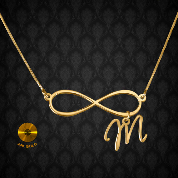Infinity personalized necklace  24k gold by KHandmadeCreations