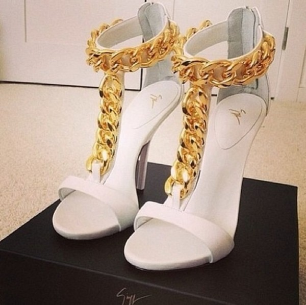 shoes gold & white