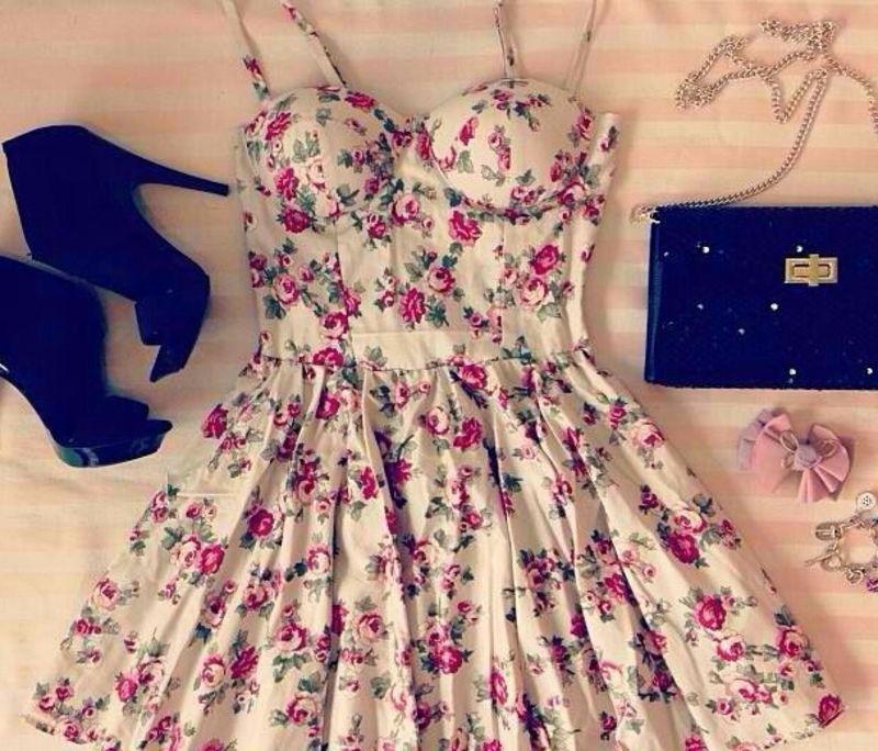 Dress Bustier Floral Beige Casual | eBay