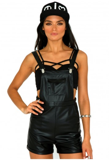 Thomsin Wet Look Dungarees - Jumpsuits and Playsuits - Dungarees - Missguided