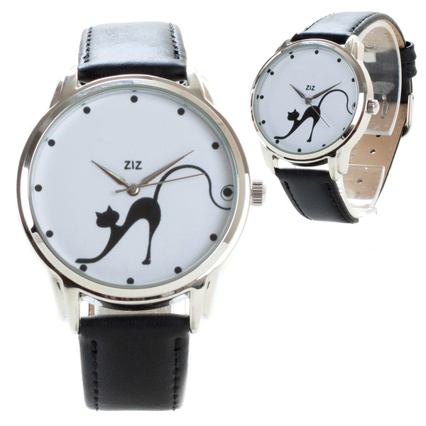 jewels cats cat watch beautiful watch unique watch unusual watch designer watch leather watch watch watch black n white ziz watch ziziztime