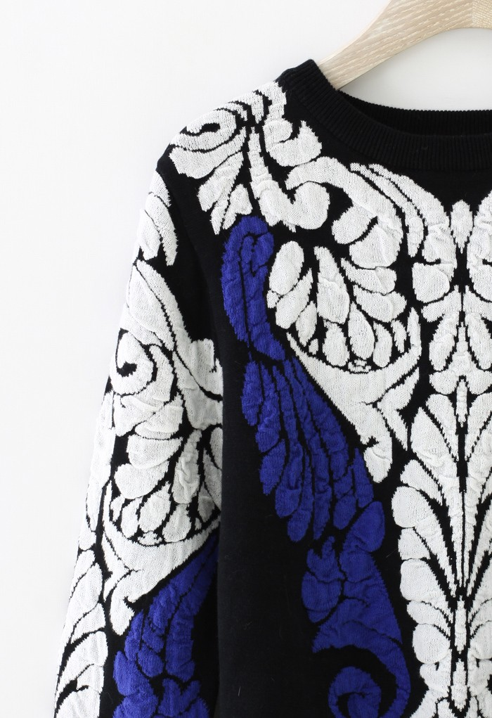 Black Long Sleeve Baroque Embossed Knit Sweater - Sheinside.com
