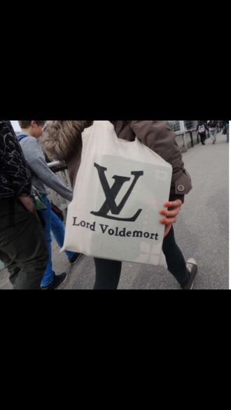 bag white tote bag lord voldemort louis vuitton funny harry potter