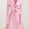 Charming pink long sleeve turndown collar woolen coats