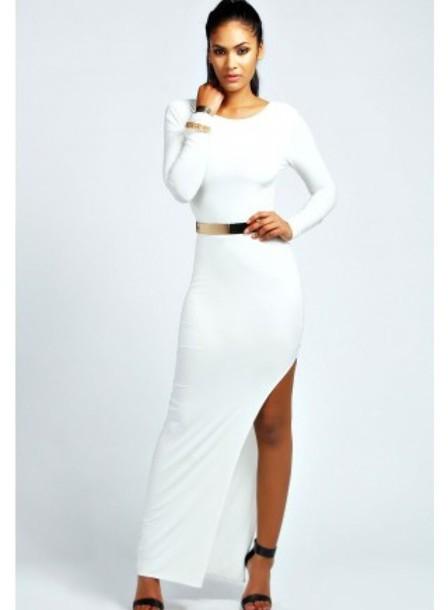 long dress white dress slit dress