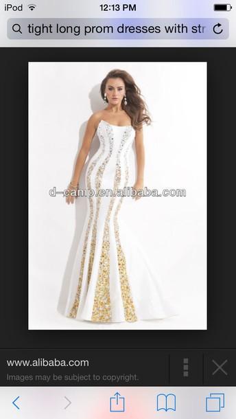 dress white mermaid dress witth gold strips s