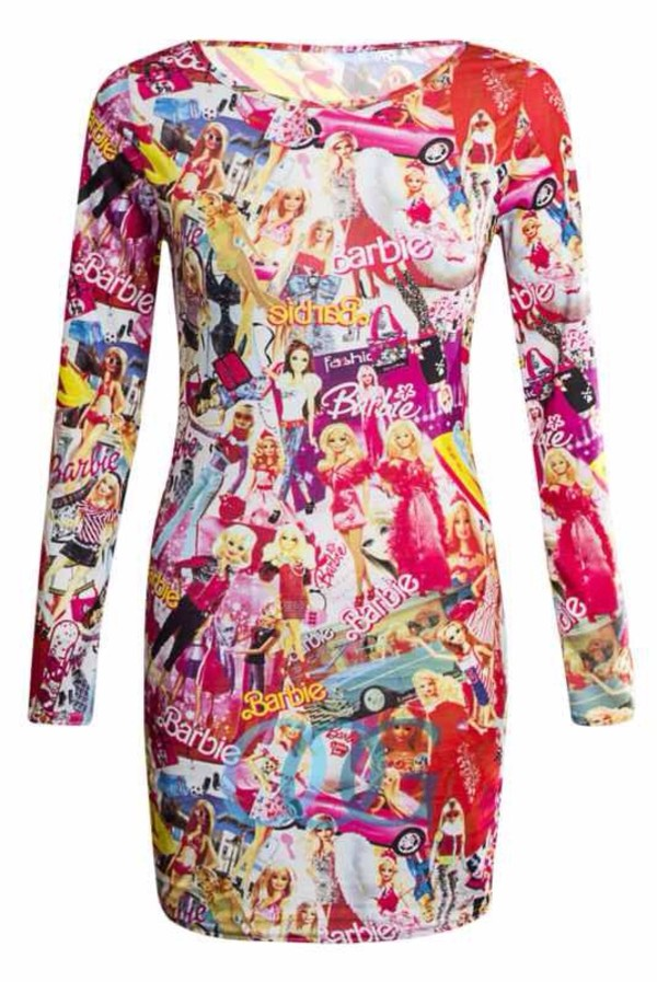 dress barbie dress pink blue dress pink dress print patterned dress strapless blue printed dress blue patterened dress bag
