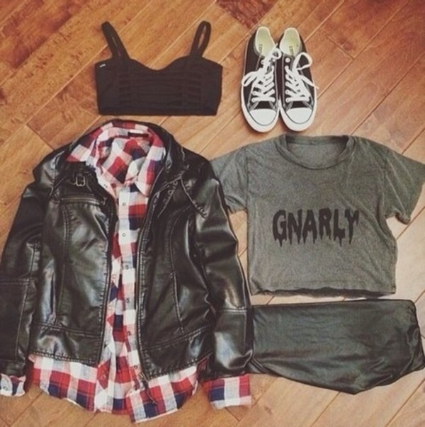 jacket gnarly crop tops checked shirt red converse
