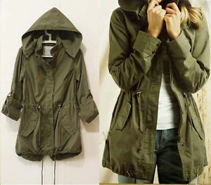 Womens Hoodie Drawstring Army Green Military Trench Parka Jacket Coat Jumper T78 | eBay