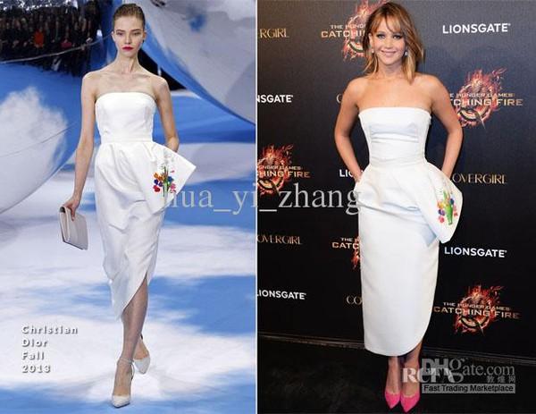 dress jennifer lawrence white dress evening dress celebrity style