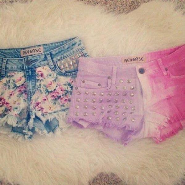 shorts dyed floral reverse??? pattern dip dye shorts pink denim trendy ripped tie dye cute beach flowers print sun streetstyle like heart jeans bff