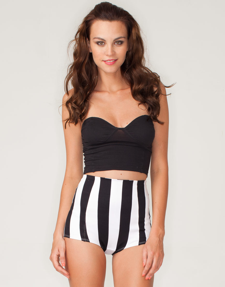 Buy Motel Hilly Hot Pant in Black and White Stripe at Motel Rocks