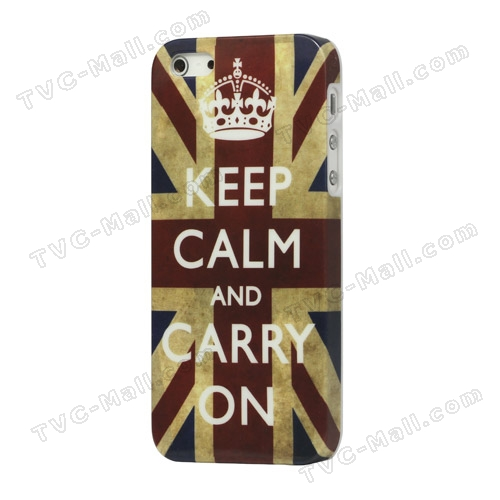 Keep Calm and Carry on Union Jack Flag Plastic Case Cover for iPhone 5 5s - iPhone 5 / 5s Hard Cases