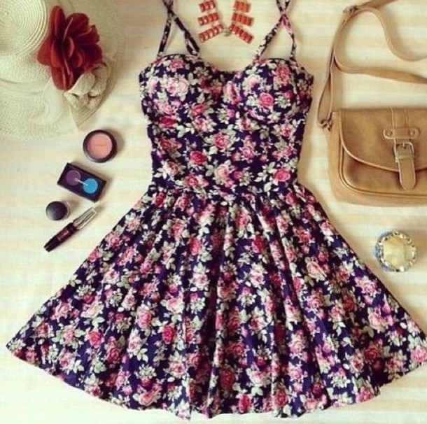 dress floral floral dress skater dress bustier dress short mini frill the working girl flowers flowers spaghetti strap halter top sweetheart neckline sweet heart neckline bodice cute summer spring casual tumblr outfit brown bag clothes bustier floral dress black color/pattern cute dress