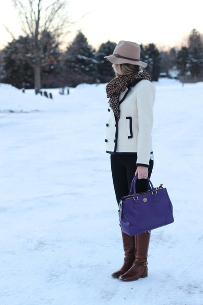 lilly's style blogger hat blue bag brown leather boots white jacket
