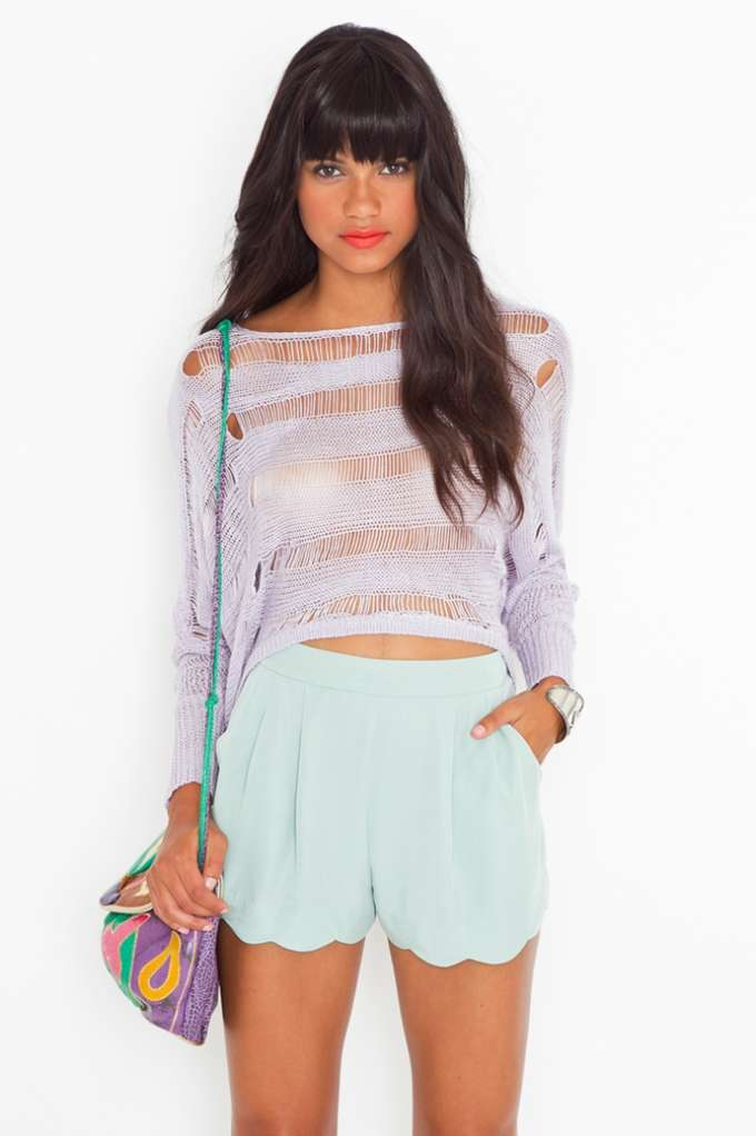 Minty Scallop Shorts in  Clothes at Nasty Gal