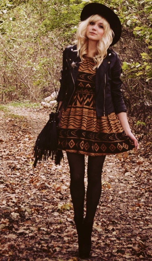 dress amber brown pattern fit and flare short mod retro