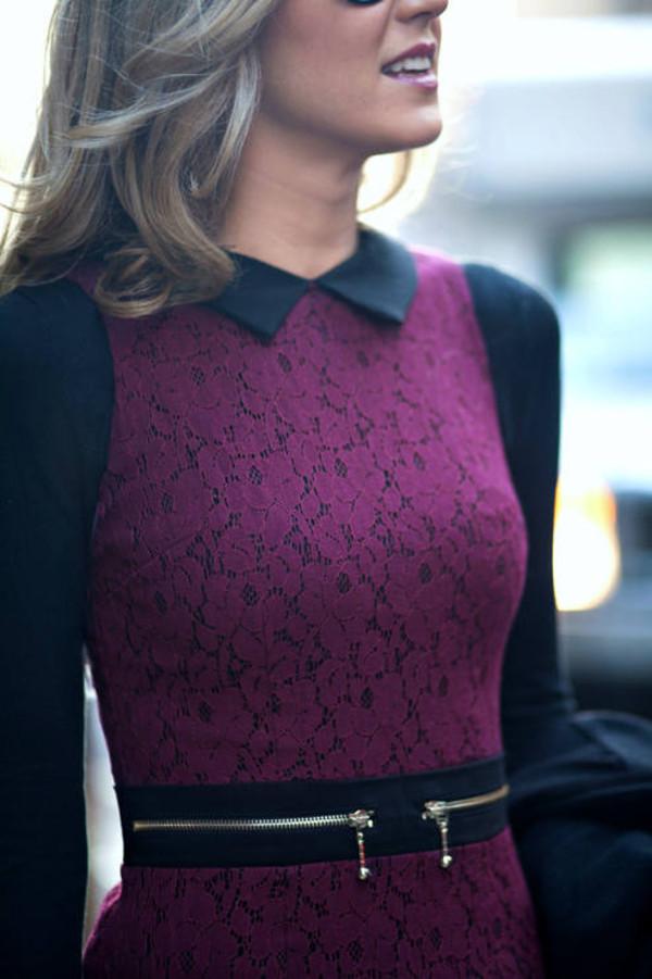 dress purple dress purple black peter pan collar zip lace dress lace clothes