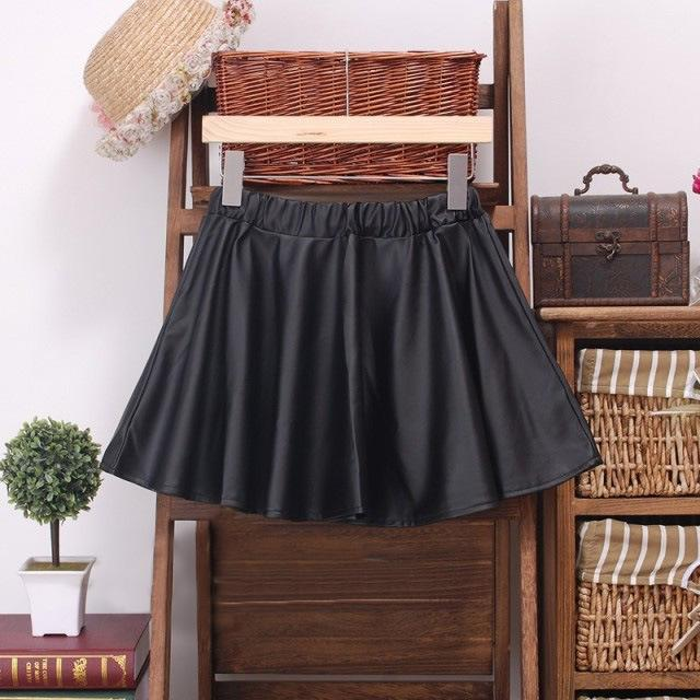 Sexy Women High Waist PU Leather Plain Skater Flared Pleated Mini Short Skirt-in Skirts from Apparel & Accessories on Aliexpress.com