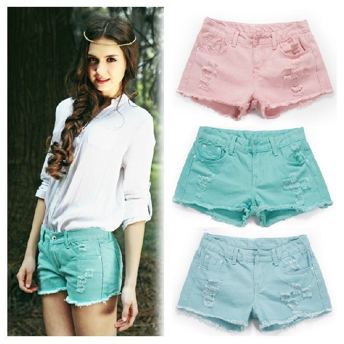 New Fashion Women 5 Candy Color Mid Rise Distressed Denim Jean Shorts Size 25 30   eBay