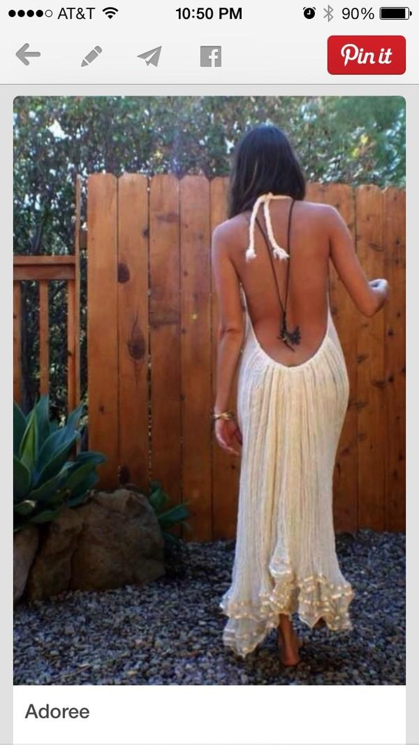 dress white backless