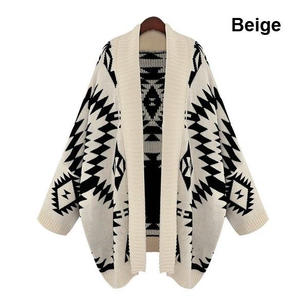 Fashion Joker Beige Aztec Tribal Sweater Jacket Open Front Warm Loose Oversized | eBay