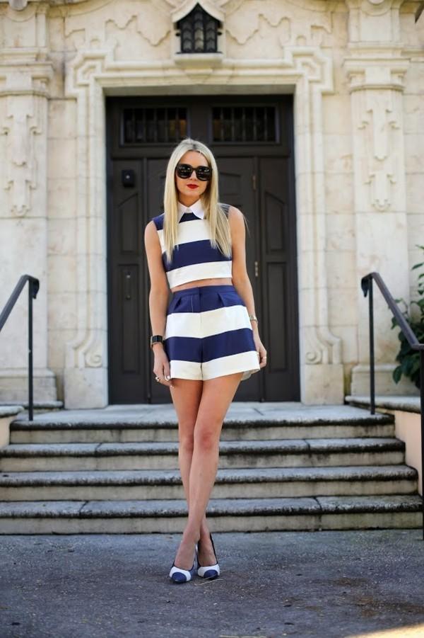 shirt short set stripes navy white