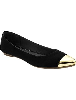 Women's Sueded Pointed-Toe Flats   Old Navy