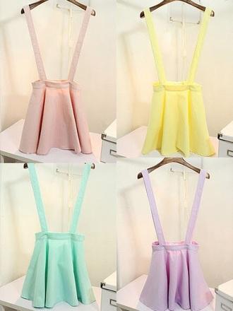 shirt skirt pastel kawaii lilac yellow mint overalls cute girly summer