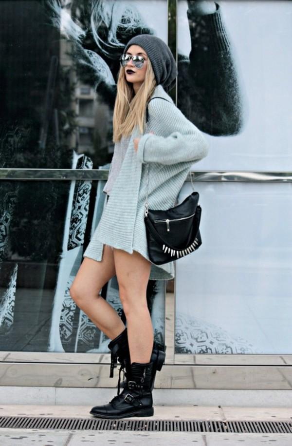 black bag black boots bohemian soft grunge boots beanie sweater dress aviator sunglasses cardigan grey grey beanie