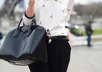 blouse paris blouse black bag white blouse eiffel tower