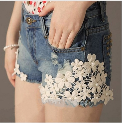 Lace Flowers Women's Hole Jeans mm loose Plus size Denim Short  · Humbly Glam · Online Store Powered by Storenvy