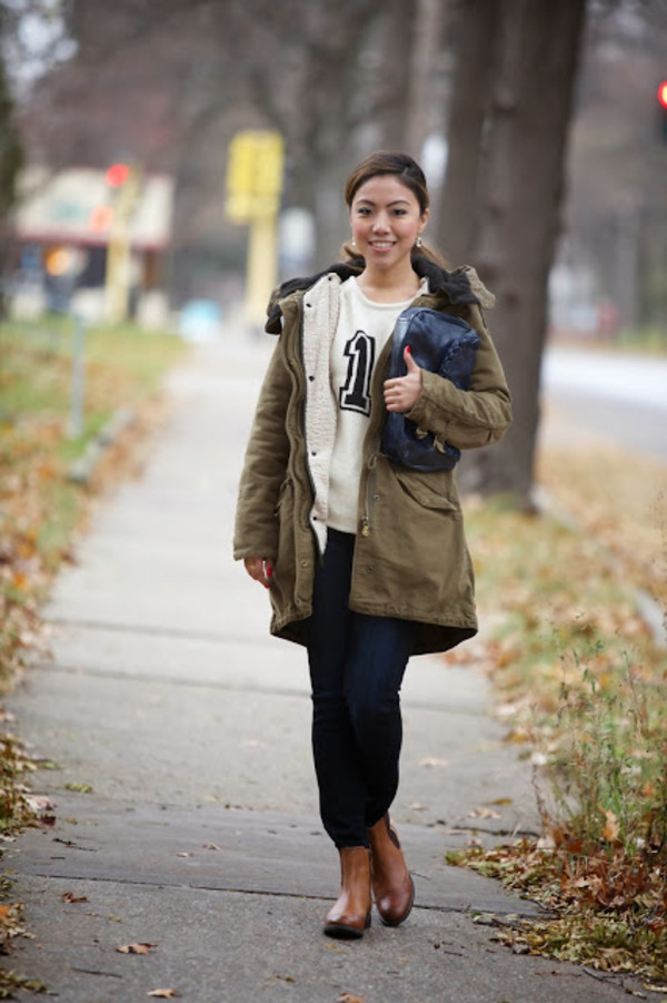 wearing fashion fluently sweater coat jeans shoes jewels bag