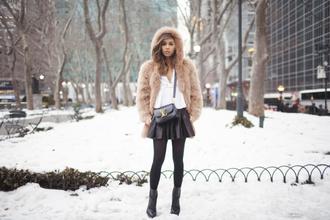 blogger coat jacket fur fashiontoast rumi rumi neely hooded coat yellow pink gold michael kors bag beige fur jacket