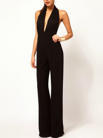 Sexy Low Cut Backless Jumpsuit In Black | Choies