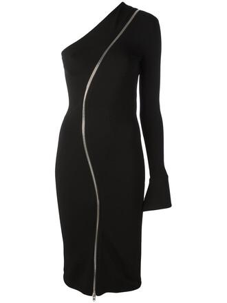 dress zip women spandex black silk