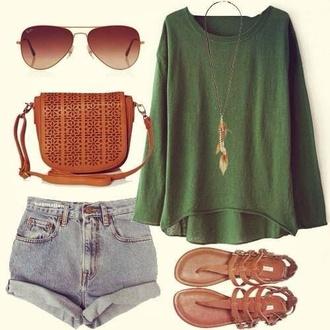 sweater shoes shorts shirt green shirt bag hotpants sandales