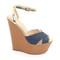 Stylish shoes - beige denim wedges