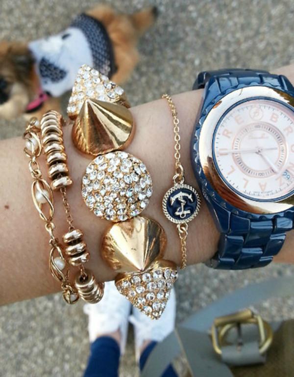 jewels bracelets gold blue anchor nautical anchor bracelet nautical bracelet lookbook