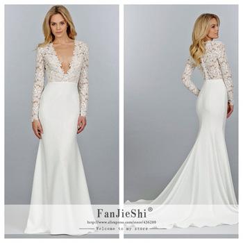 59717738aaf327 Aliexpress Com Elegant Vestido De Noiva Y V Neck Long. V Neck A Line Lace  Long Sleeve Wedding Dress ...