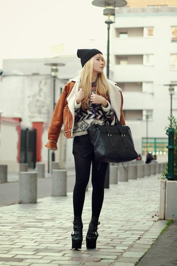 brown platform sweater coat shorts bag shoes