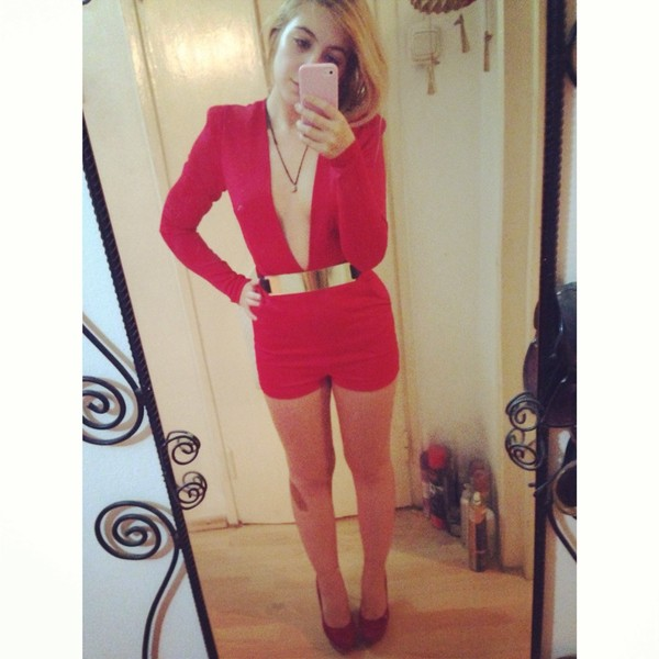 dress red playsuit