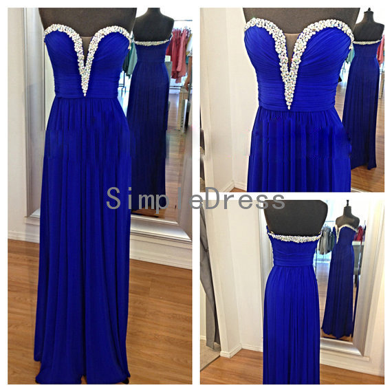 Aliexpress.com : Buy 2014 Deep V neck Dark Blue Prom Dress Beading Sweetheart Empire Floor length Long Prom Dress  Free Shipping from Reliable dresses dolls suppliers on Simple Dress Store