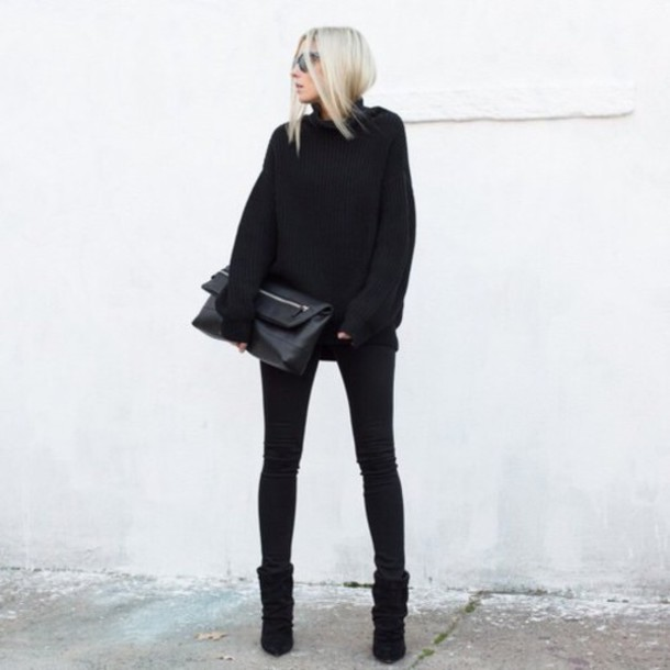 sweater all black everything style black black sweater classy fashion bloggers bloggers style turtleneck