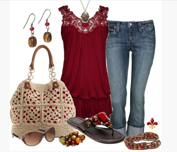 tank top top shirt crimson tank top lace sleeves sleeveless long shirt loose fit top pants capris shoes sandals bracelets earrings sunglasses bag purse knitted purse necklace pendant clothes outfit