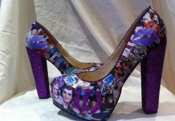 shoes one direction high heels heels purple one direction