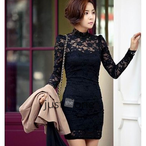 New Womens Long Sleeve Floral Lace Bodycon Dress Ladies Tunic Dress Top 6 8 10 | eBay