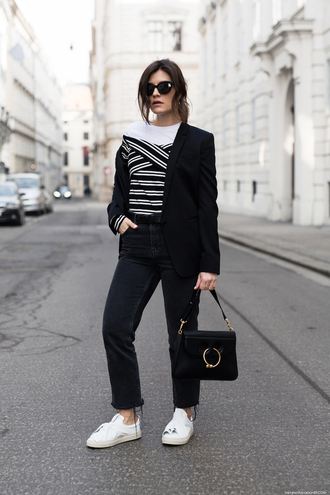 viennawedekind blogger jacket top jeans jewels belt shoes bag sunglasses blazer black bag