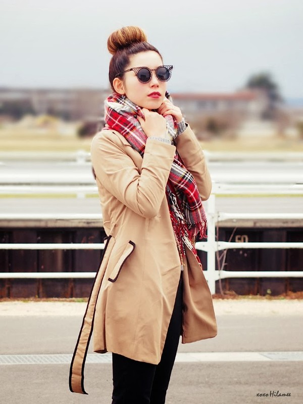 xoxo hilamee coat sweater pants shoes bag sunglasses scarf